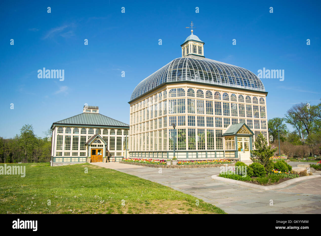 H.P. Rawlings Conservatory and Botanic Gardens in Druid Hill Park in Baltimore, Maryland - Stock Image