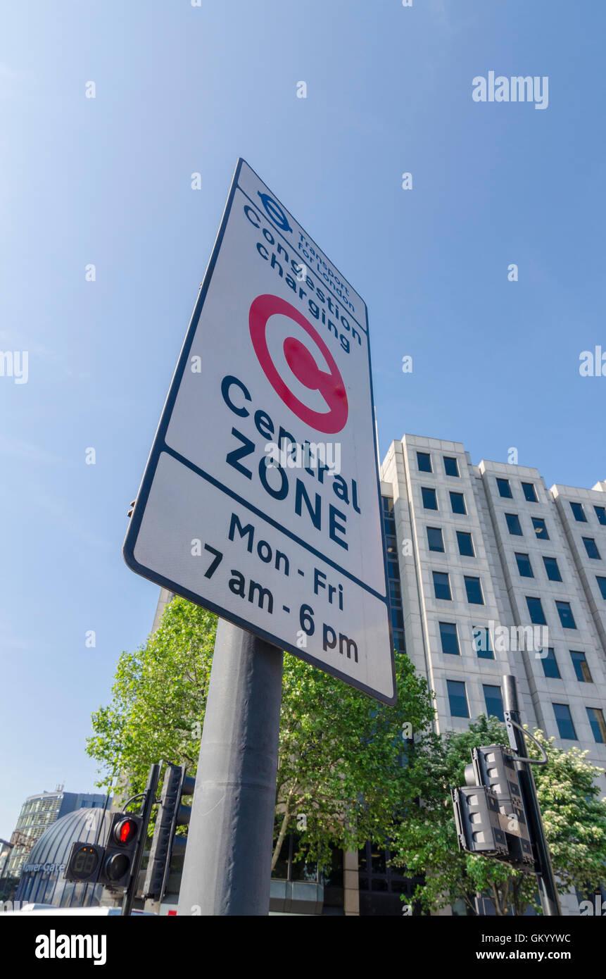 Congestion Charge zone sign, London, UK - Stock Image