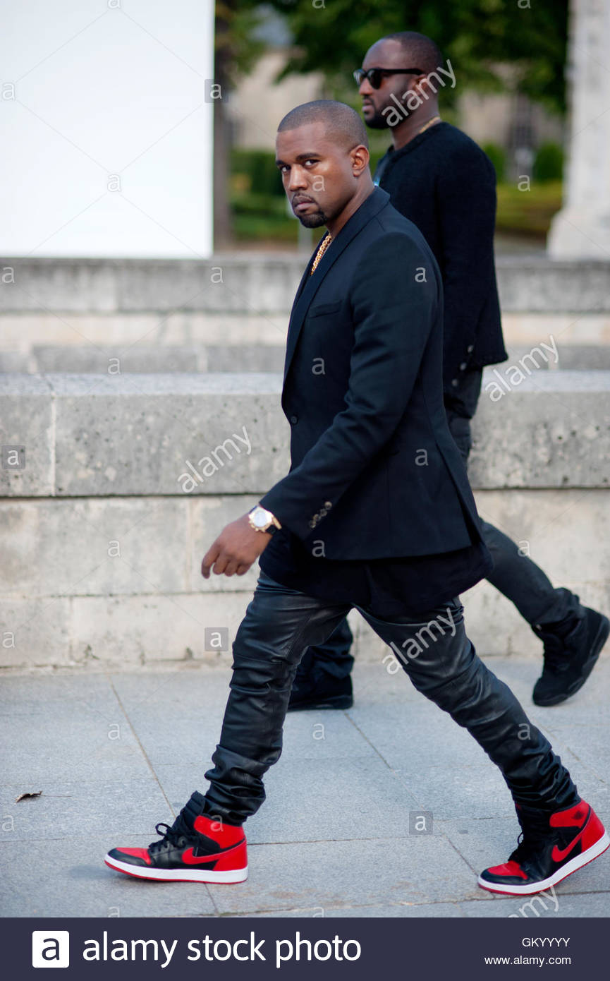 kanye West arrivng for Christian Dior show during Paris Fashion Week. - Stock Image