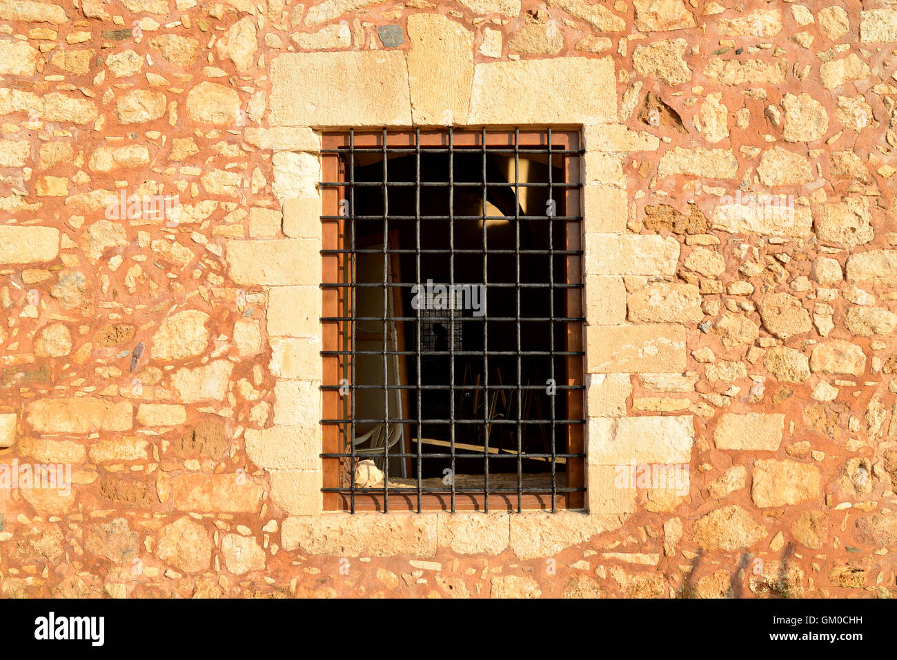 Rethymno city Greece Fortezza fortress window detail Stock Photo