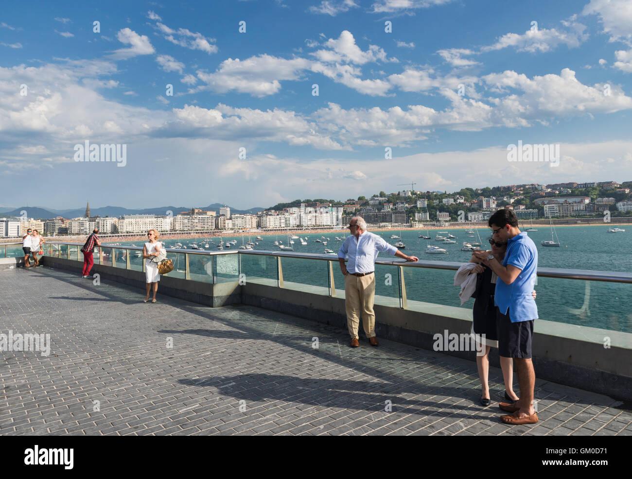Elevated viewing point of Concha bay  San Sebastian Donostia Spain - Stock Image