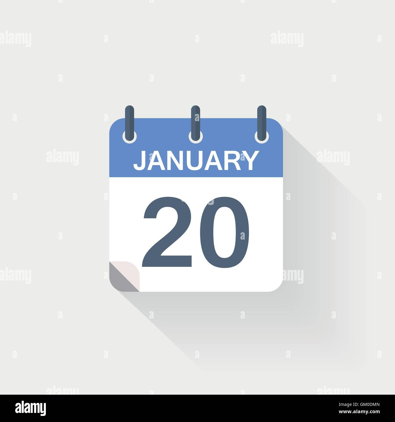 20 january calendar icon on grey background - Stock Vector