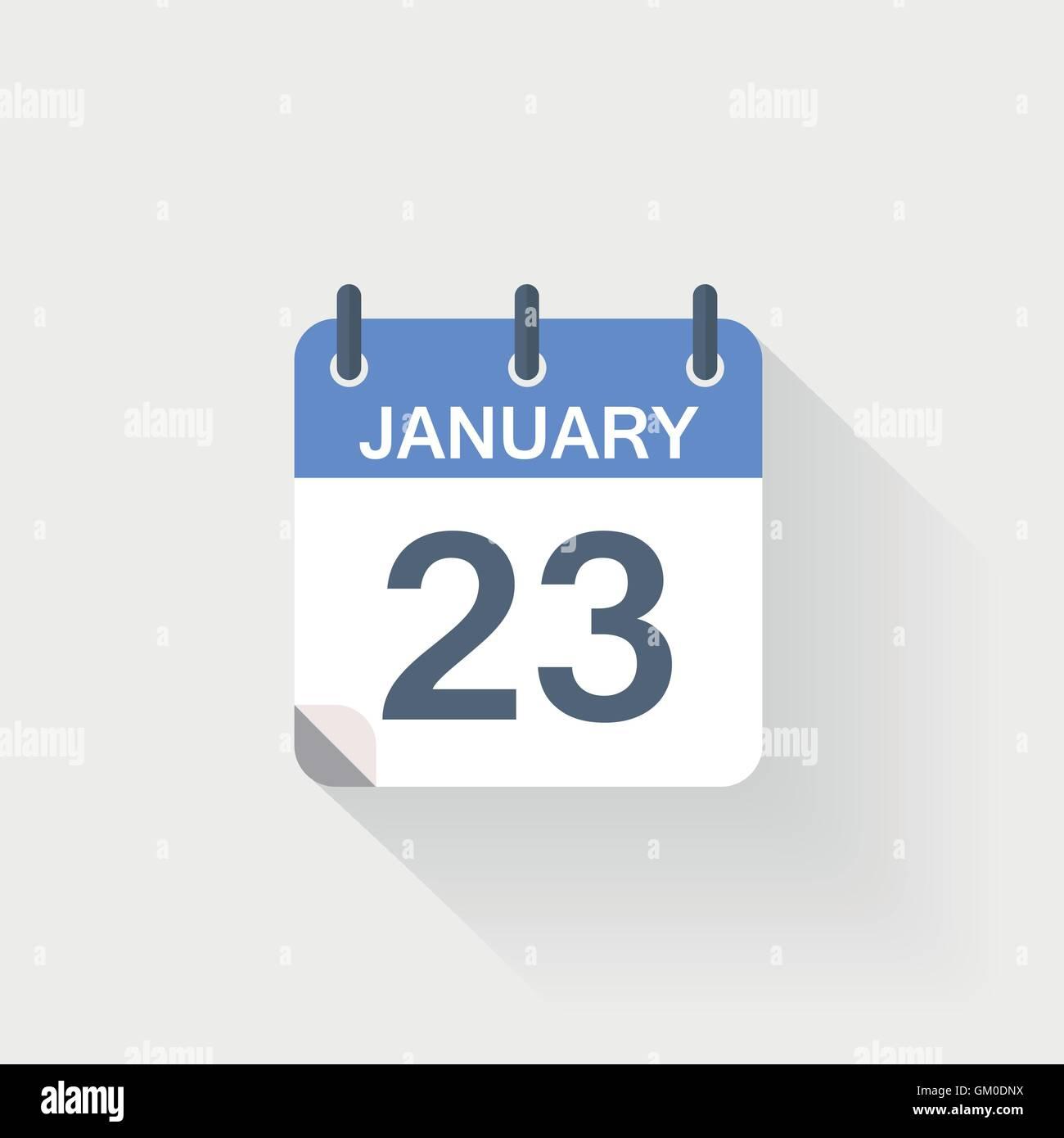23 january calendar icon on grey background - Stock Vector