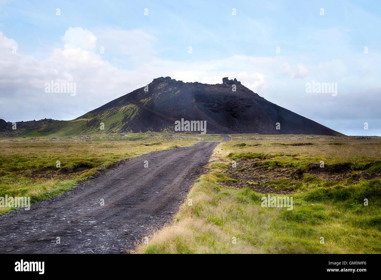 Saxholl crater, Hellisandur, Snaefellsnes, Iceland - Stock Image