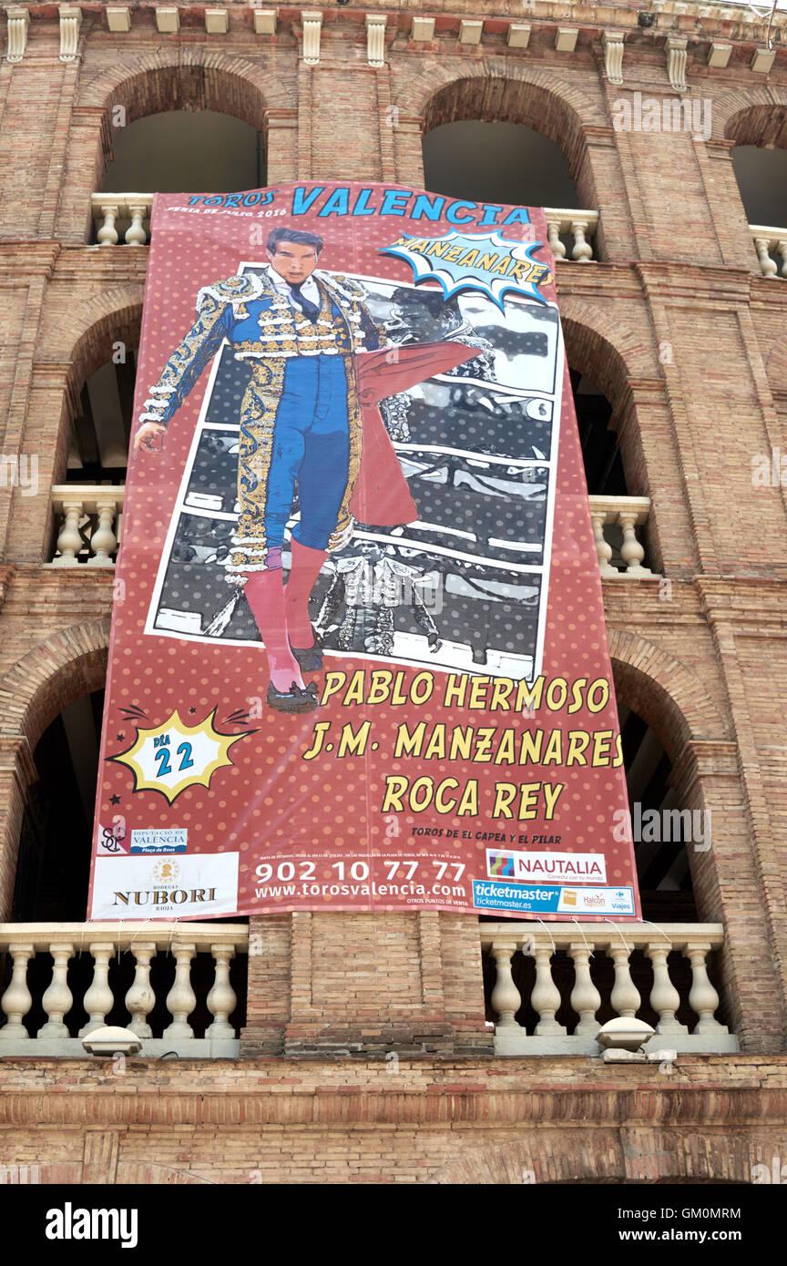 Matador poster. Valencia Bullring (Plaza de Toros), Spain - Stock Image