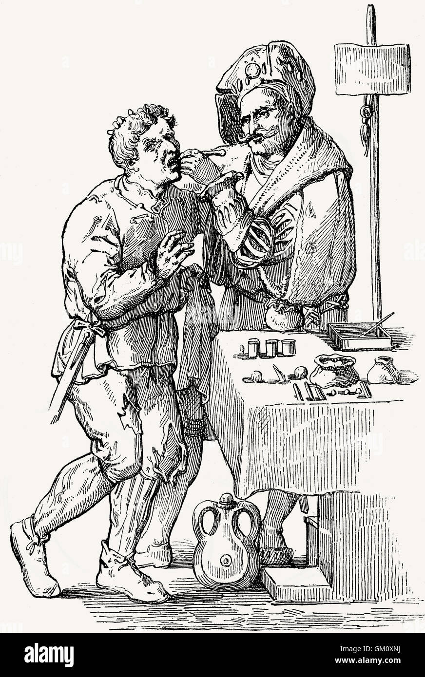 A dentist in the 17th century - Stock Image