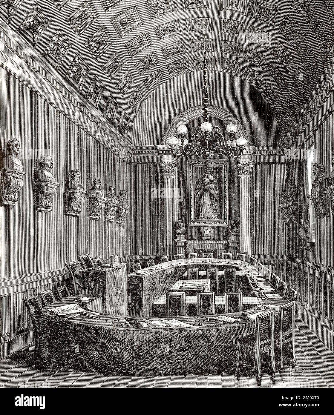 Conference hall, Académie Française, Paris, France, 19th century - Stock Image