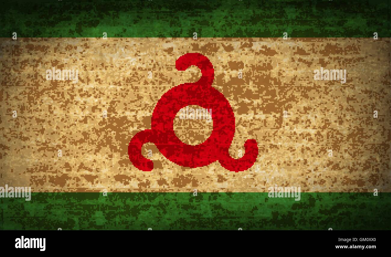 Flags Ingushetia with dirty paper texture. Vector - Stock Image