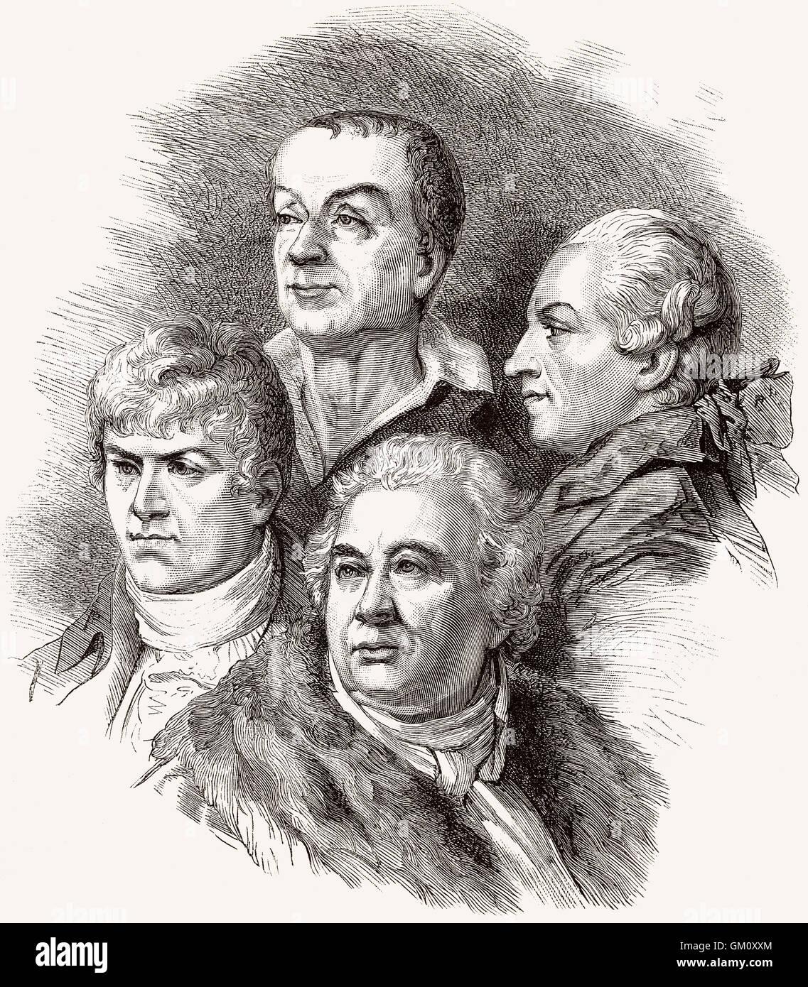 Members of the Académie française, Jean-François Collin d'Harleville,  François Guillaume - Stock Image