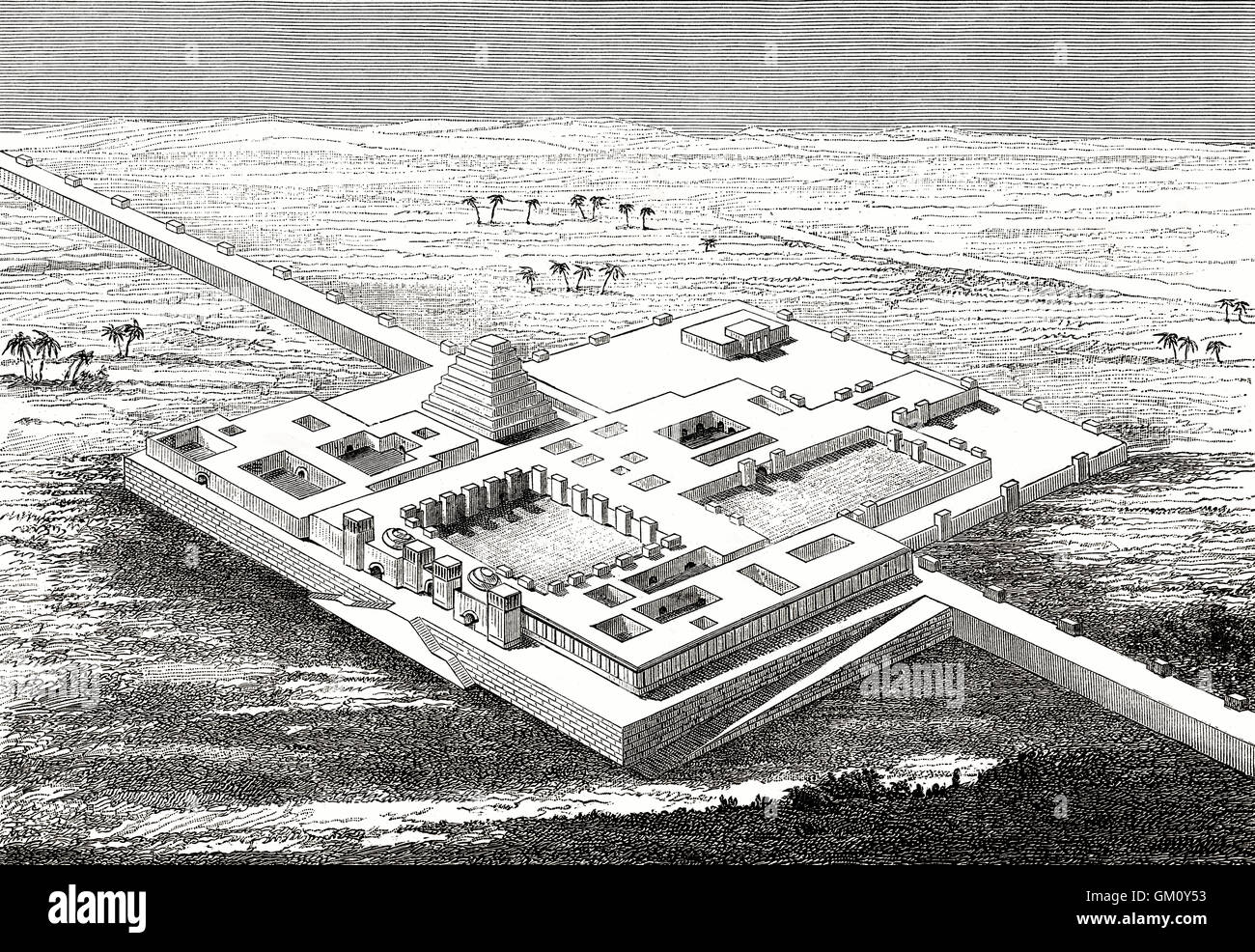 Reconstruction of the North West Palace of Ashurnasirpal II, Assyria, Iraq - Stock Image