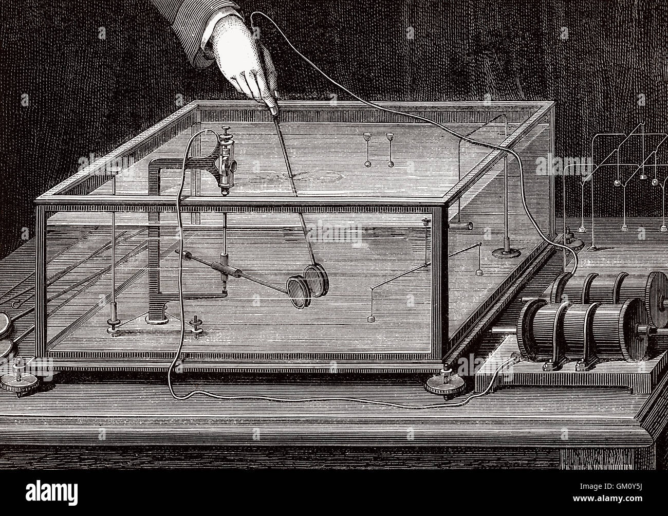 A machine by Carl Anton Bjerknes, 1825-1903, a Norwegian mathematician and physicist Stock Photo