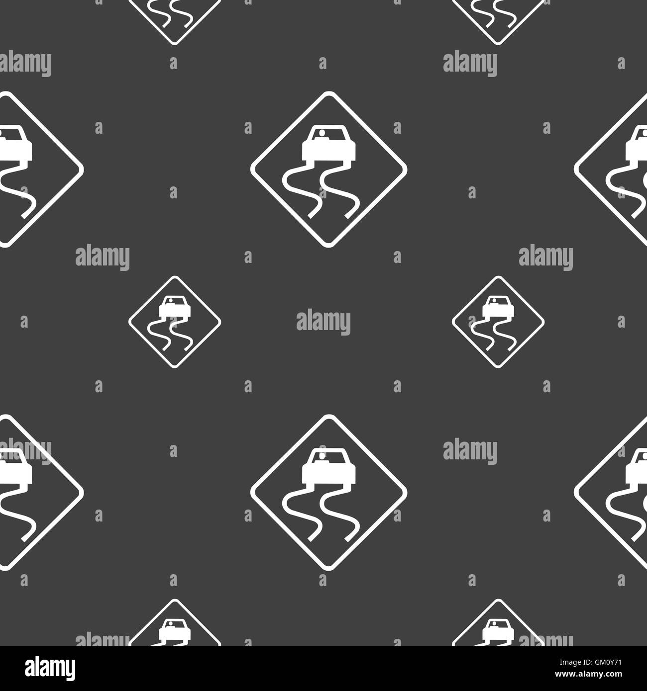 Road slippery icon sign. Seamless pattern on a gray background. Vector - Stock Image
