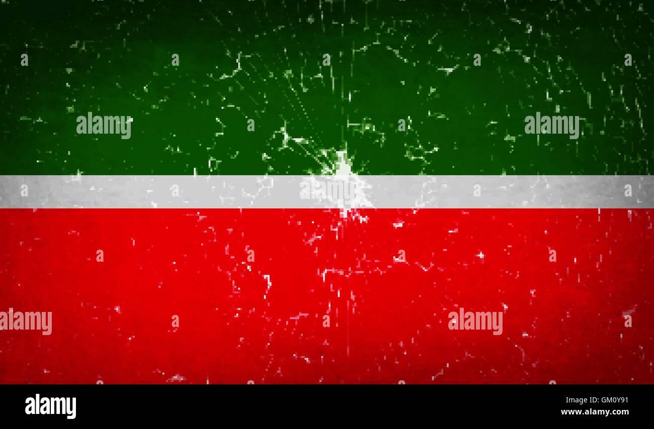 Flags Tatarstan with broken glass texture. Vector - Stock Image