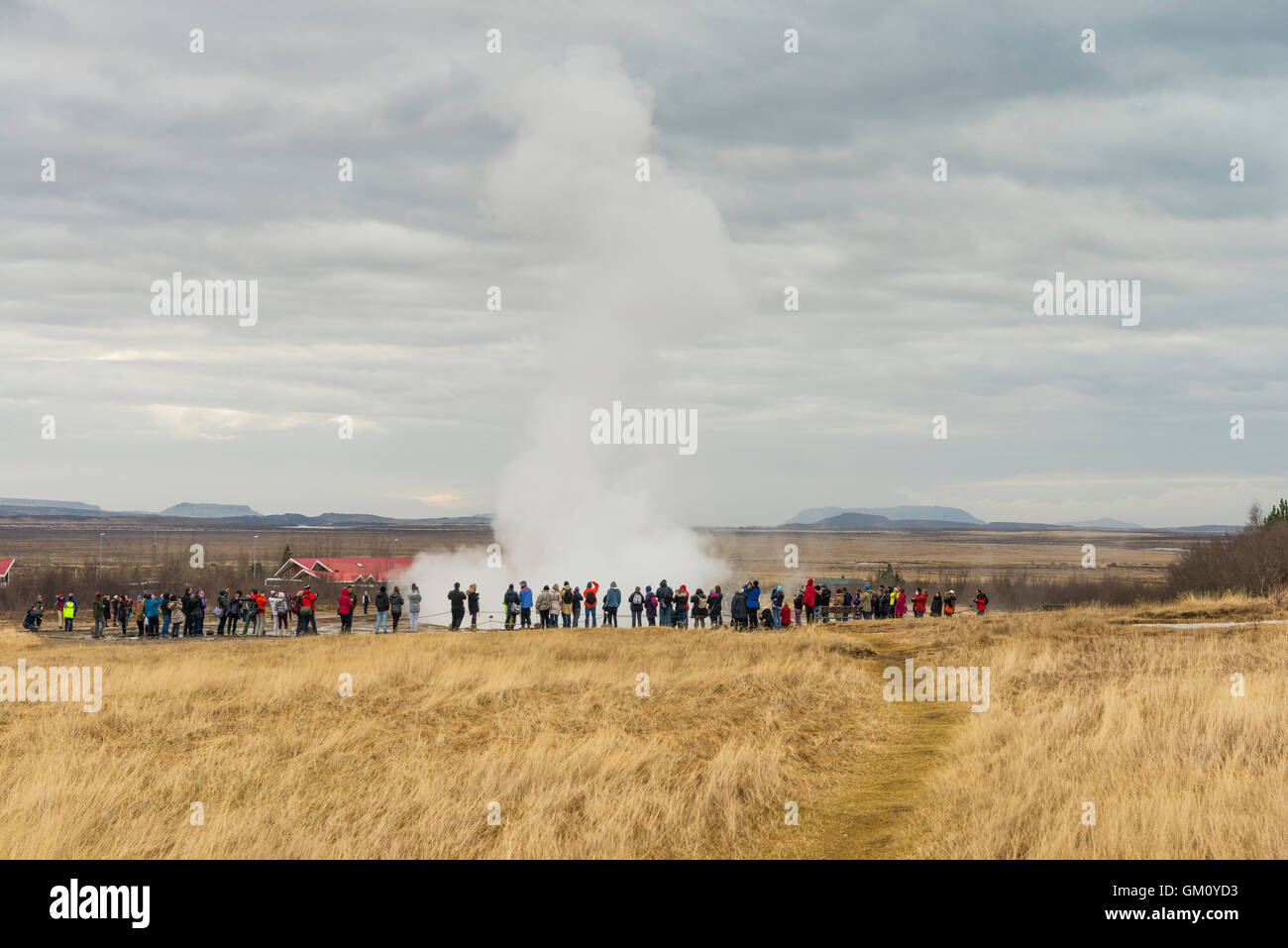 The fountain geyser 'Stokkur' is located in a geothermal area in southwest Iceland, east of Reykjavik. Erupts - Stock Image