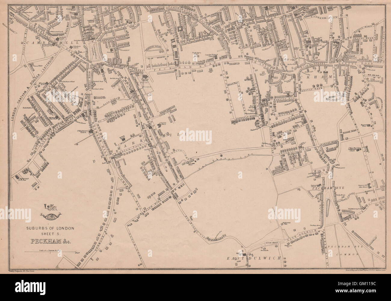 south london peckhamrye east dulwich camberwell denmark hill weller 1863 map