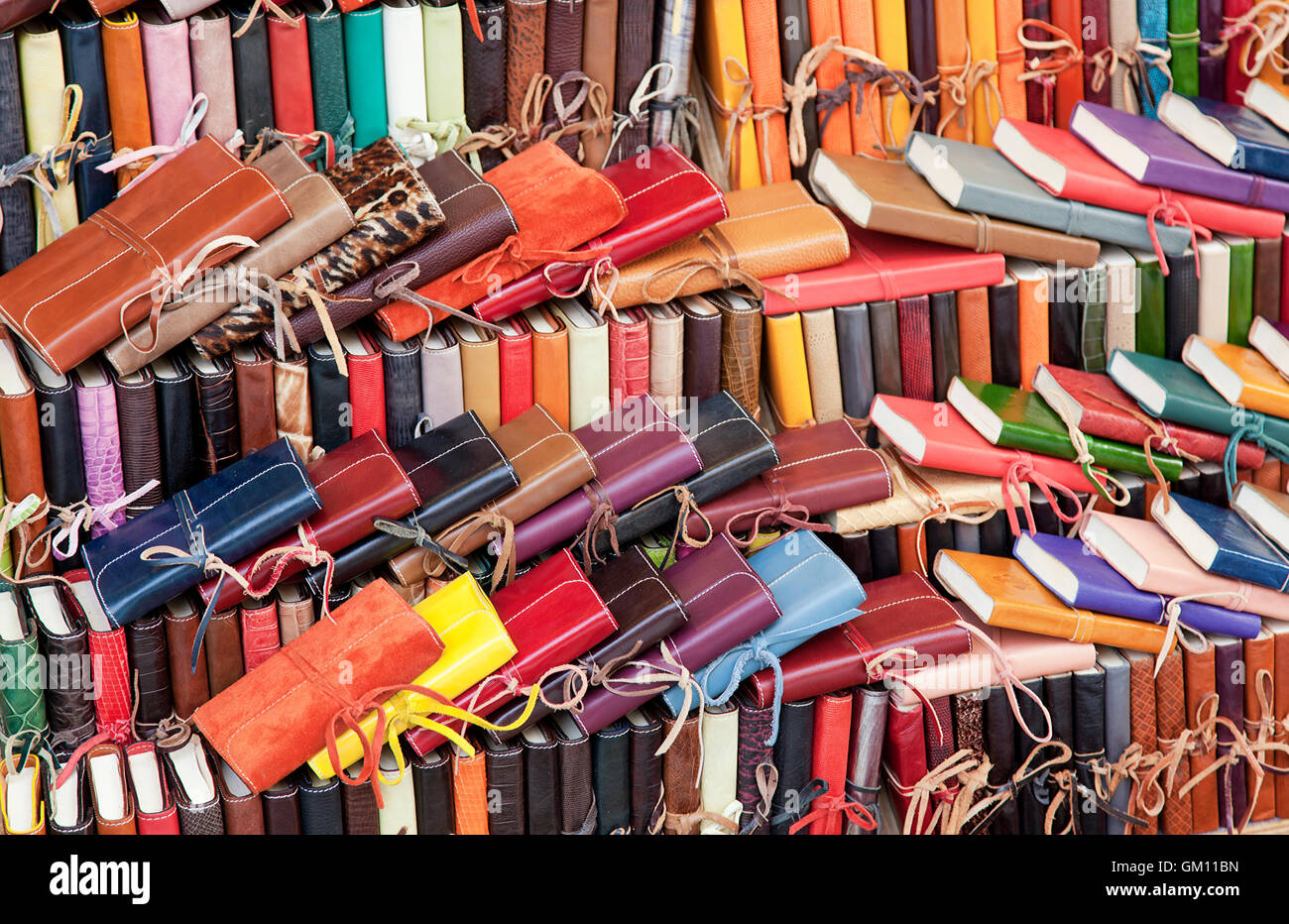 Leather diaries for sale in the markets of Florence, Italy. - Stock Image