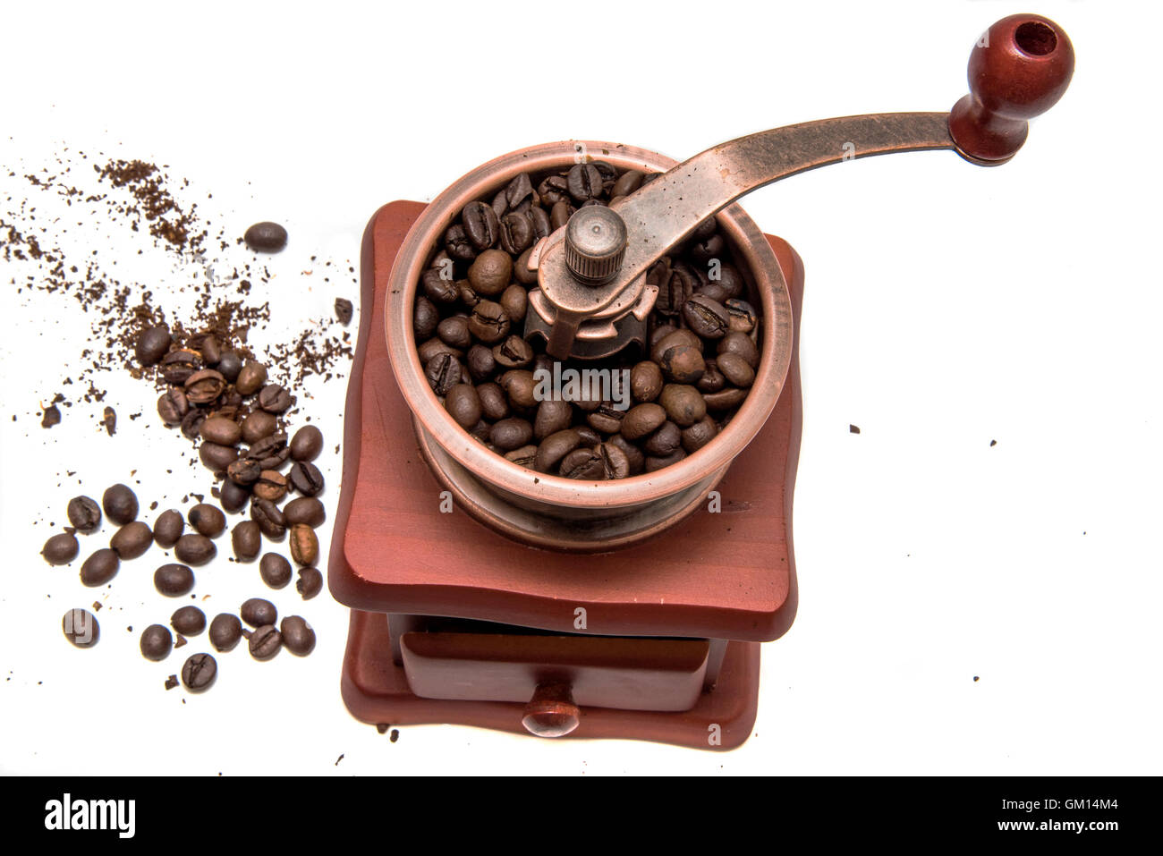 vintage coffee mill isolated on white background - Stock Image