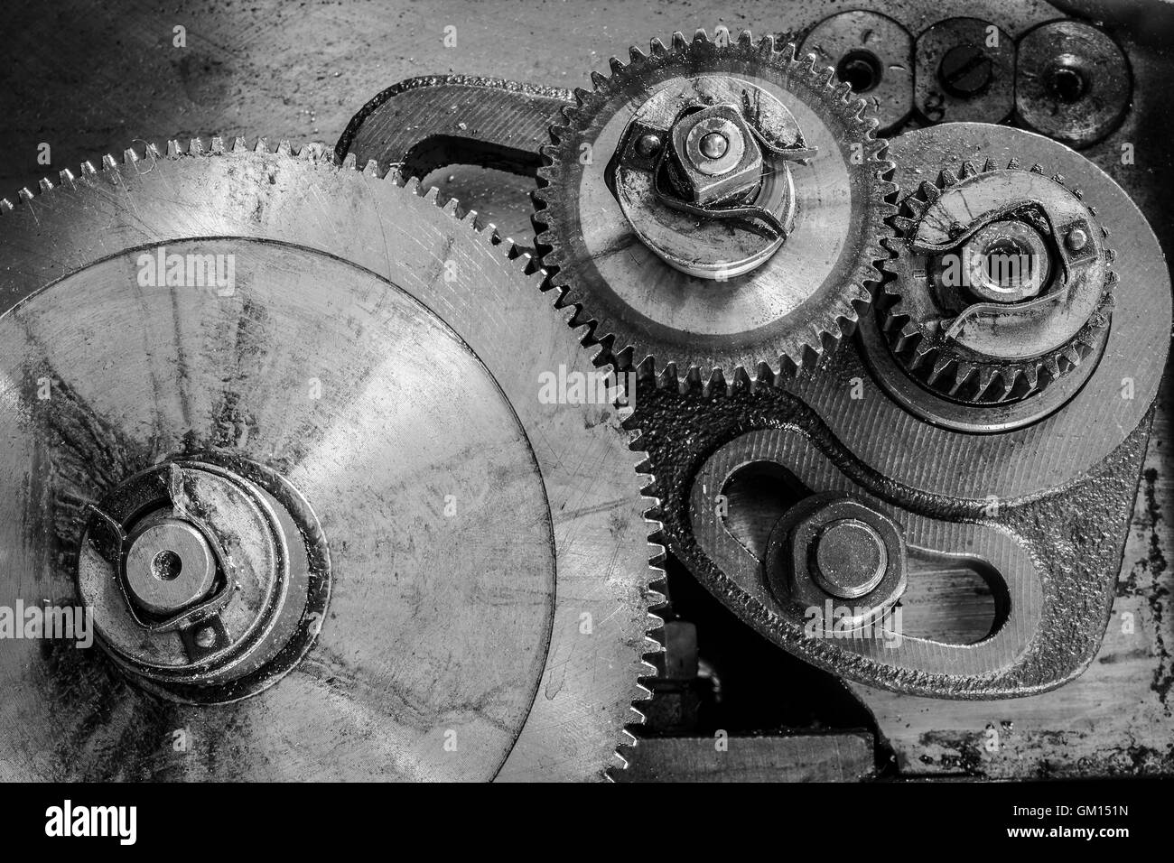 gearing on a old lathe - Stock Image