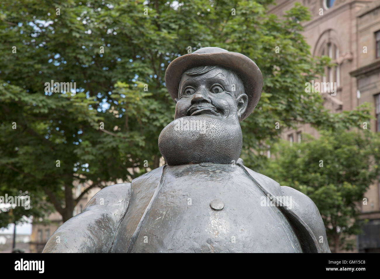Statue of Desperate Dan from the Dandy Comic, City Square, Dundee, Scotland, UK - Stock Image