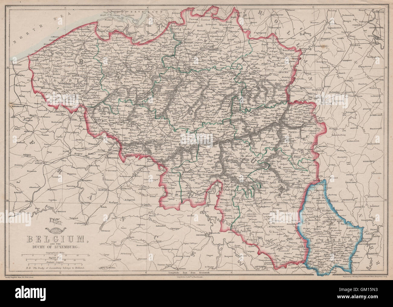 belgium luxembourg provinces rivers railways jw lowry dispatch 1863 map