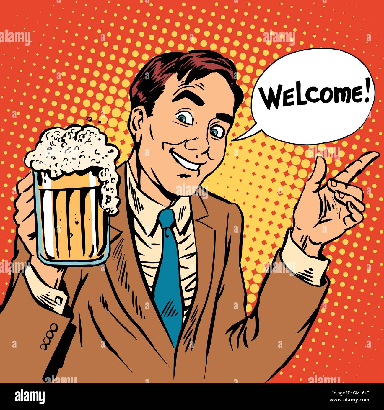 Man welcome to the beer restaurant - Stock Vector