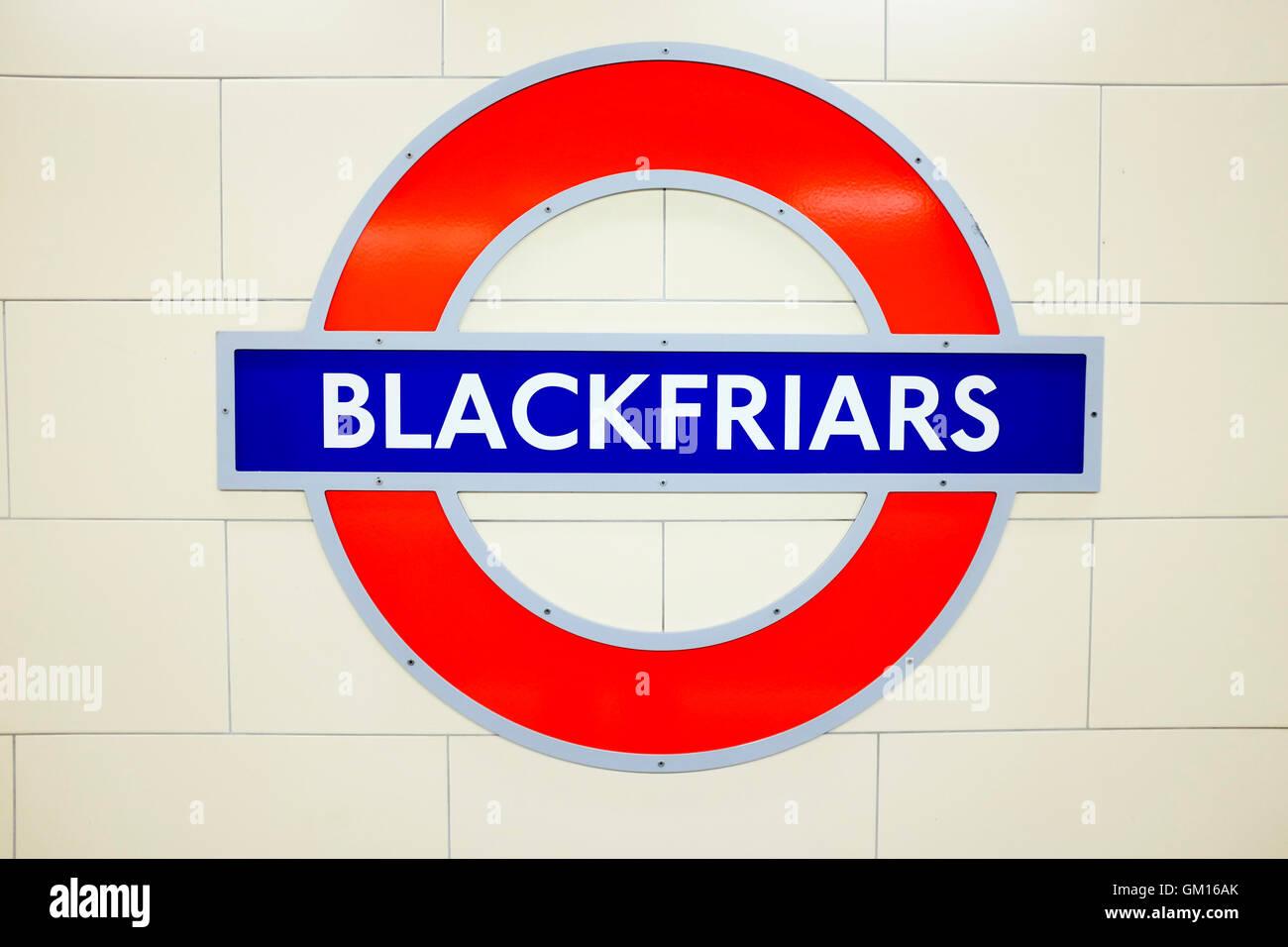 London, England, UK. London underground sign, Blackfriars Station - Stock Image