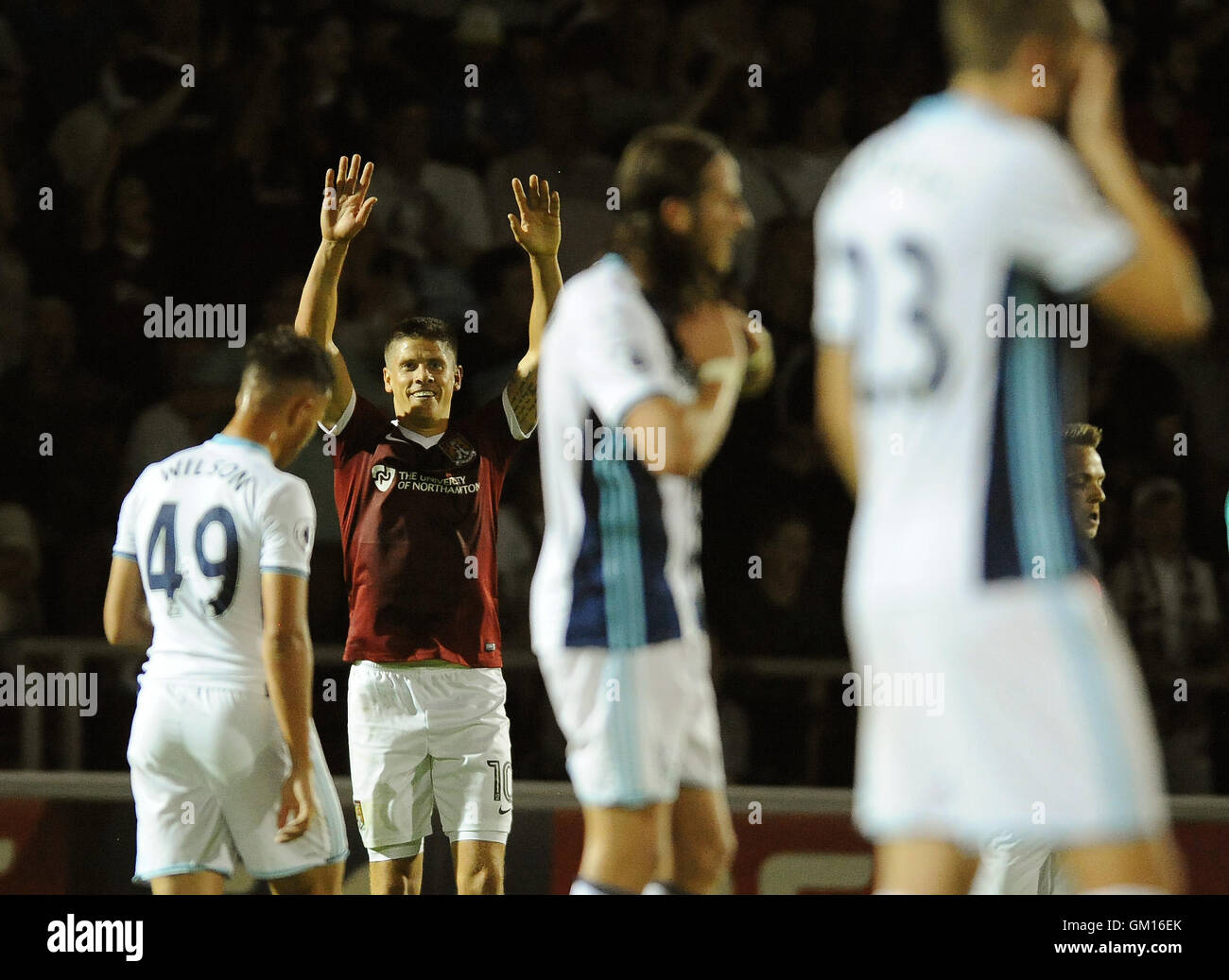 Northampton's Alex Revell celebrates after scoring his sides second goal during the EFL Cup, Second Round match - Stock Image