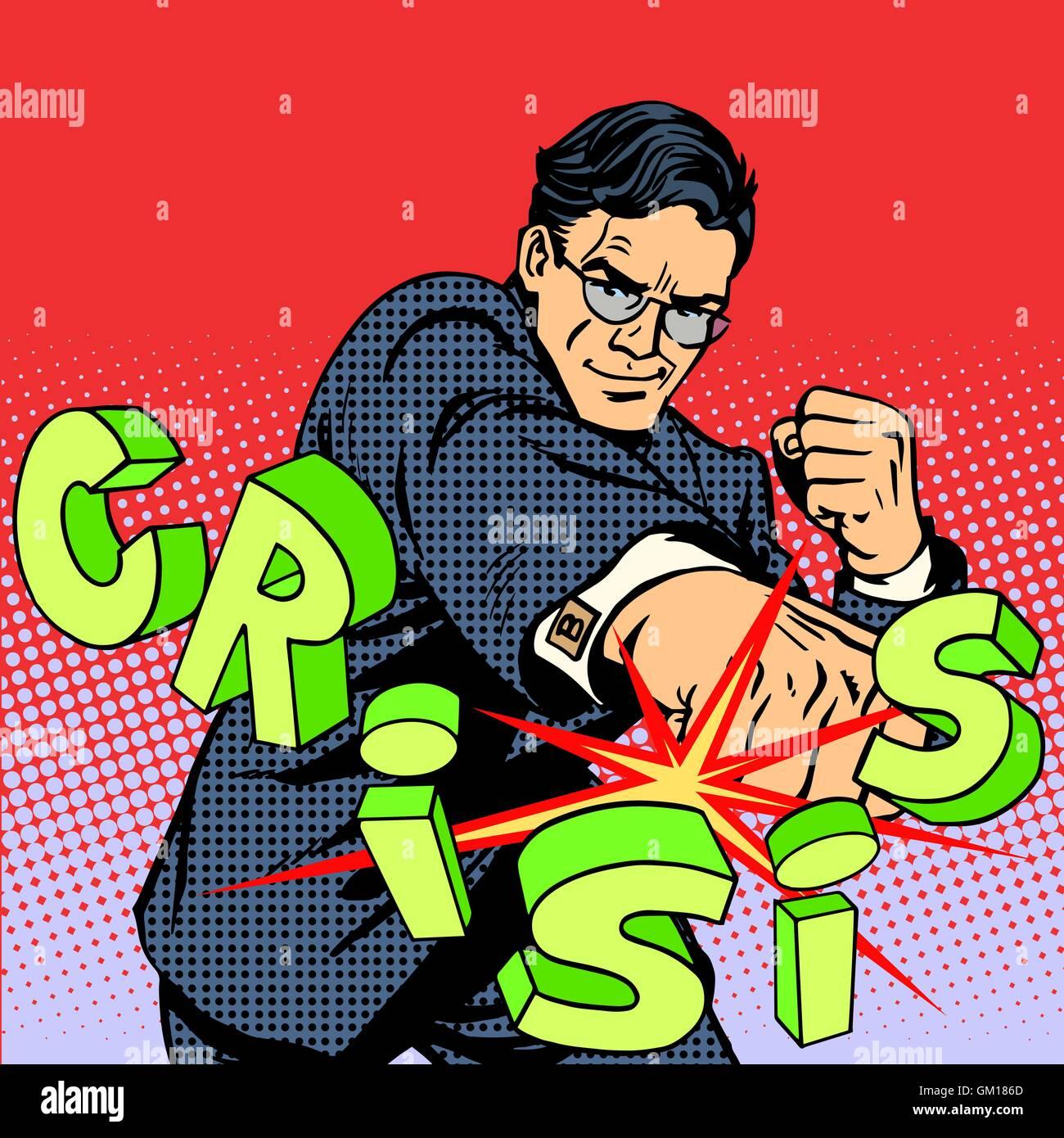 Super businessman hero against crisis business concept - Stock Vector