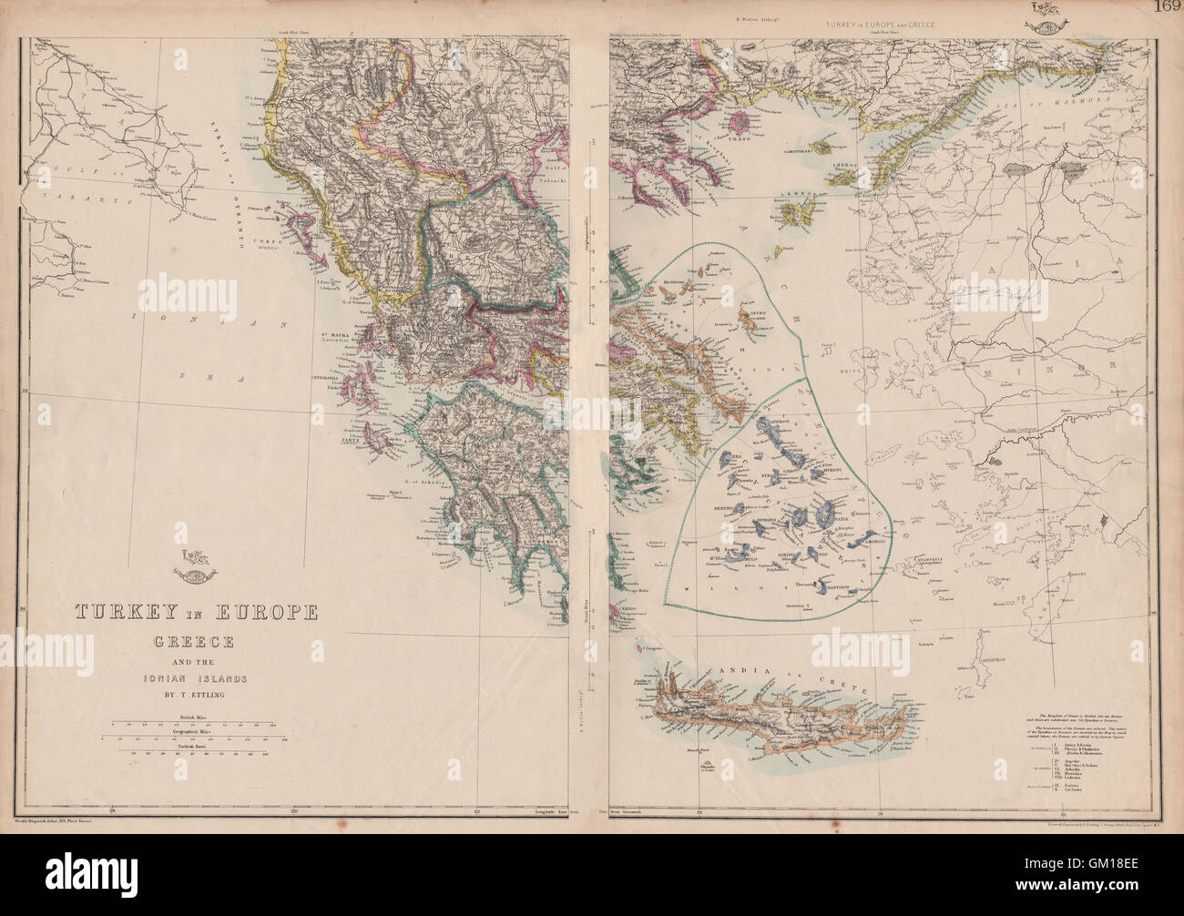 Turkey On Europe Map.Greece Turkey In Europe British Ionian Islands Cyclades Stock Photo