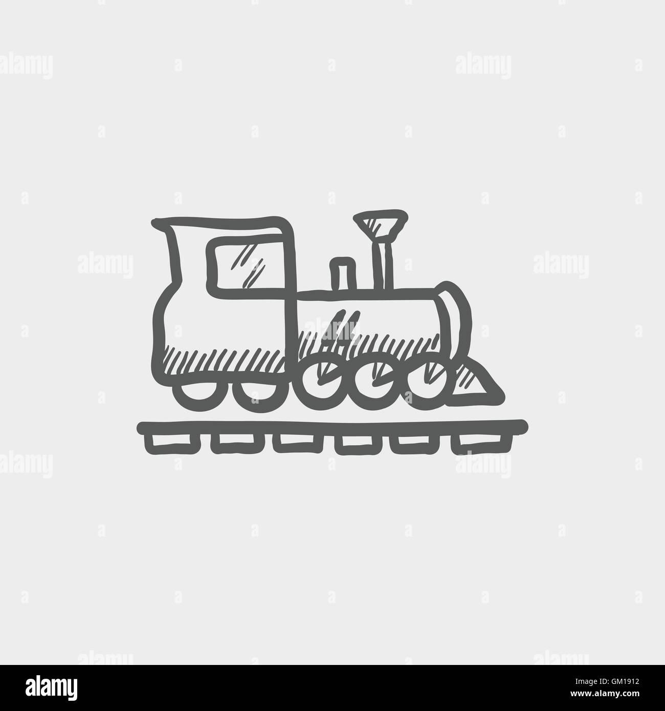 Railroad train sketch icon Stock Vector Art & Illustration, Vector