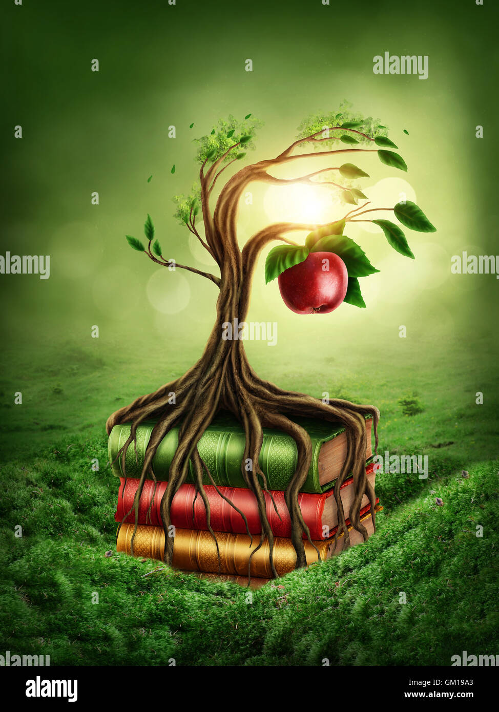 5370a8e05040b Tree of knowledge and forbidden fruit growing out of book Stock ...
