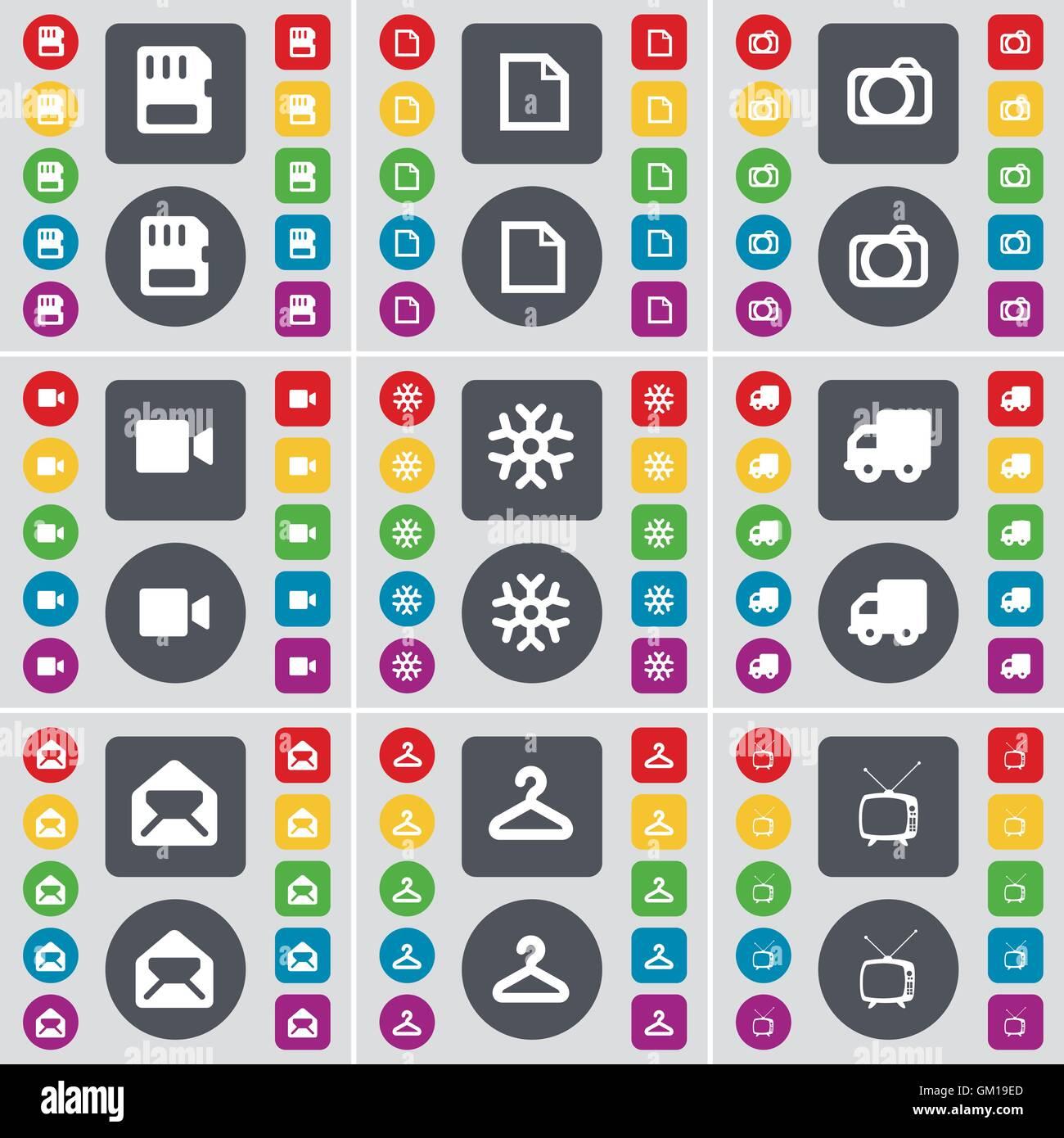 SIM card, File, Camera, Film camera, Snowflake, Truck, Message, Hanger, Retro TV icon symbol. A large set of flat, - Stock Image