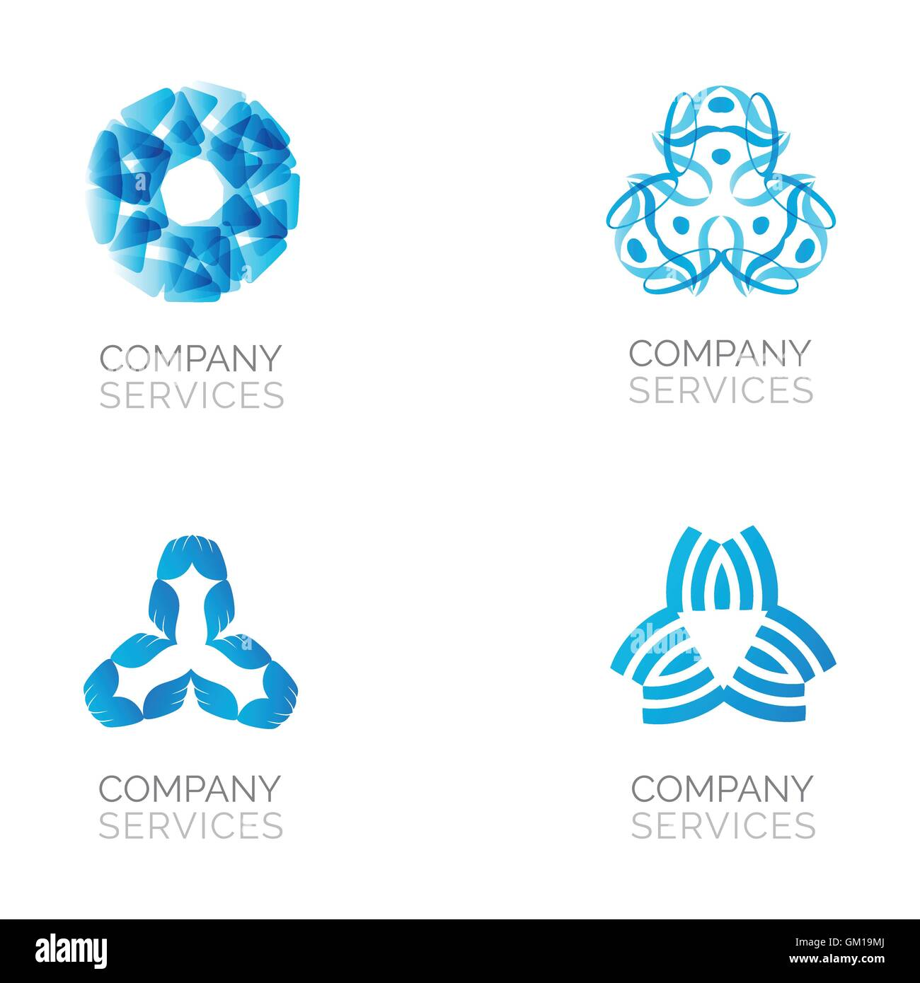 Set of four abstract blue logos. Vector logotypes with spiral, rhombus, crossed and circle elements. - Stock Image