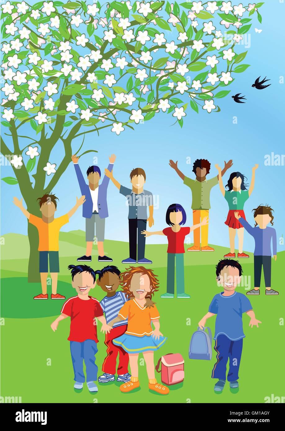 Children are happy in summer - Stock Vector
