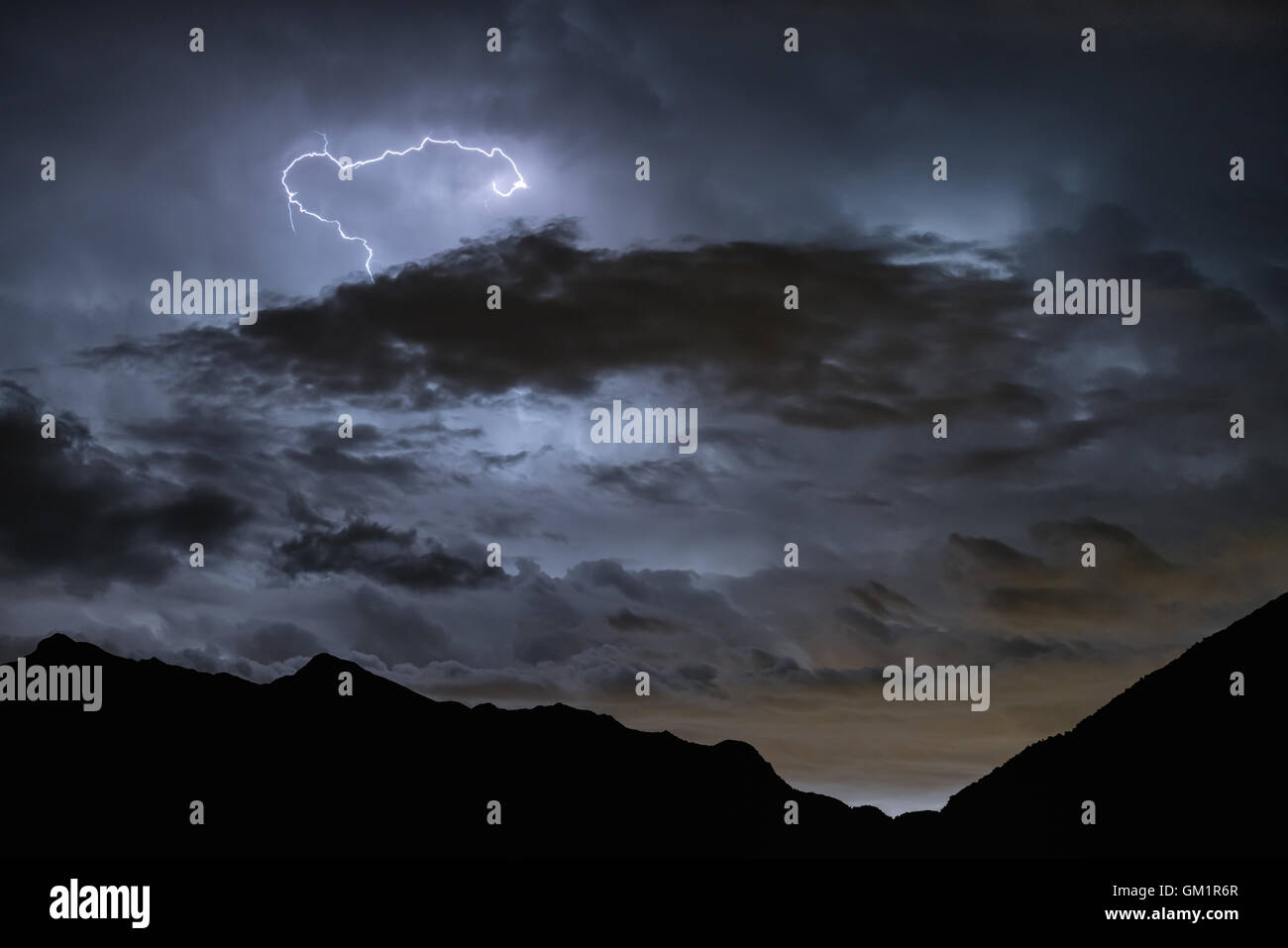 Lightning storm seen from St. Vincent, Aosta Valley, Italy, Alps, Europe, EU - Stock Image