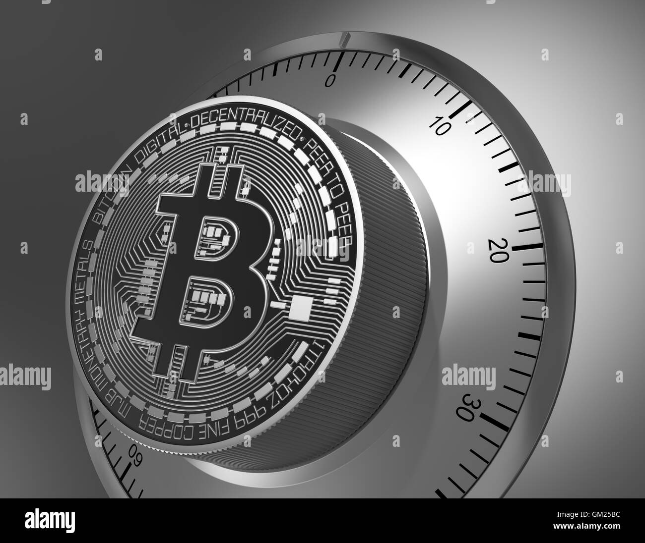 Concept Of Bitcoin Like A Safe Lock. 3D Illustration. Stock Photo