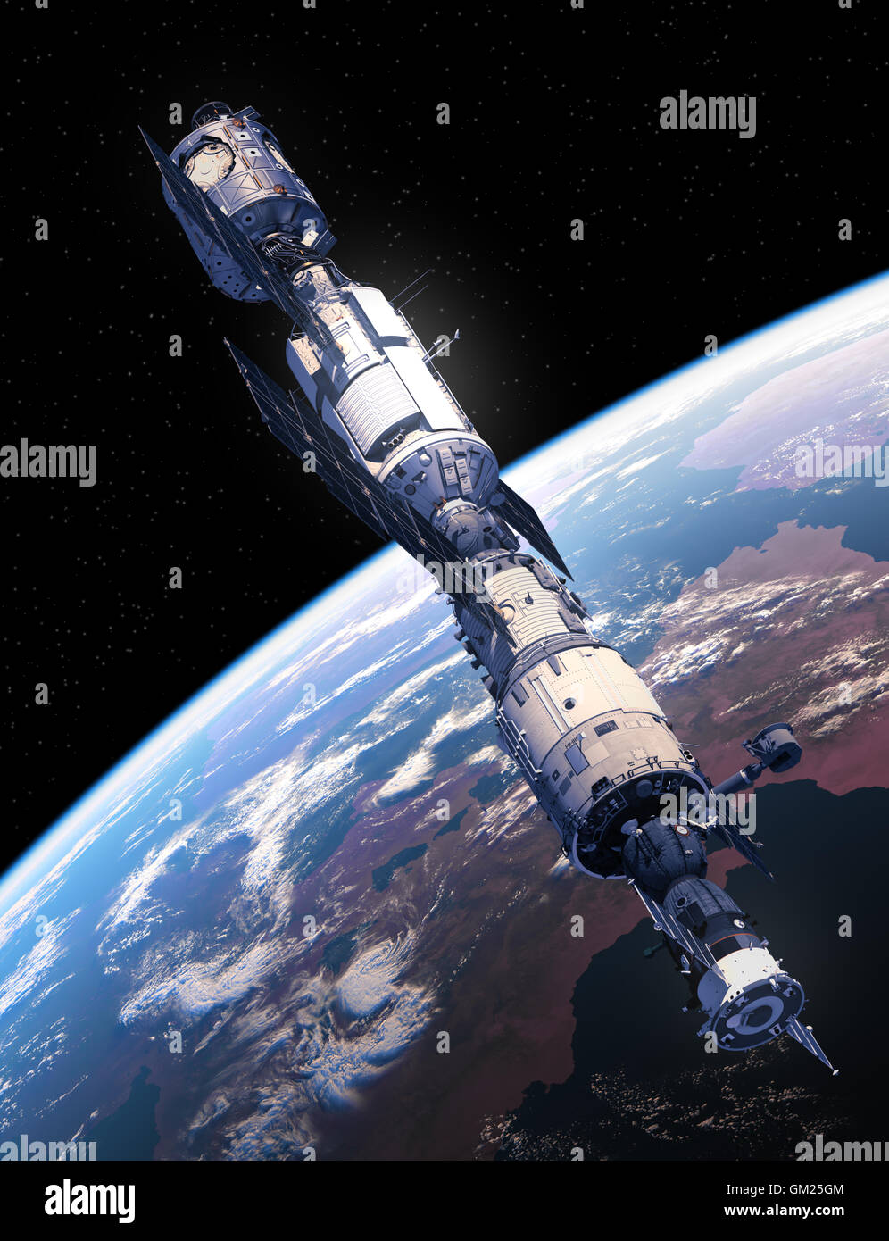 International Space Station Flying Over The Earth. 3D Illustration. - Stock Image