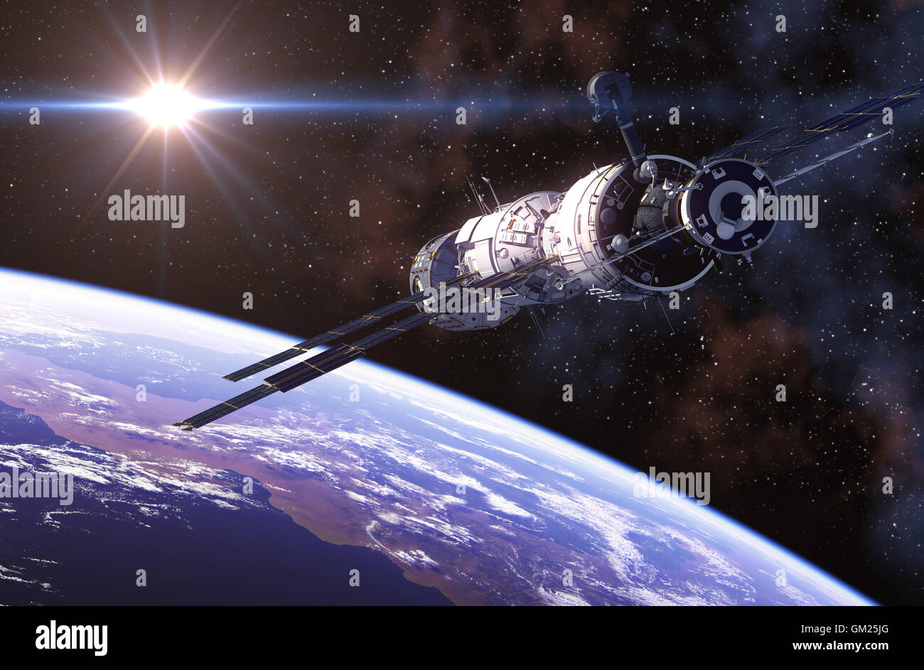 International Space Station In Outer Space. 3D Illustration. - Stock Image