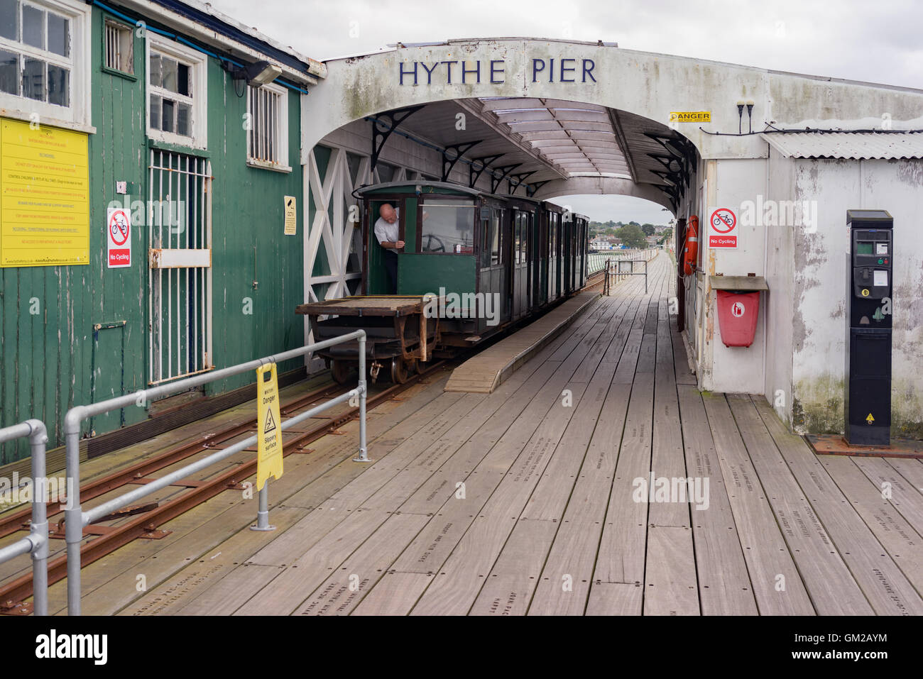 The historic Hythe Pier and railway near Southampton in Hampshire. - Stock Image