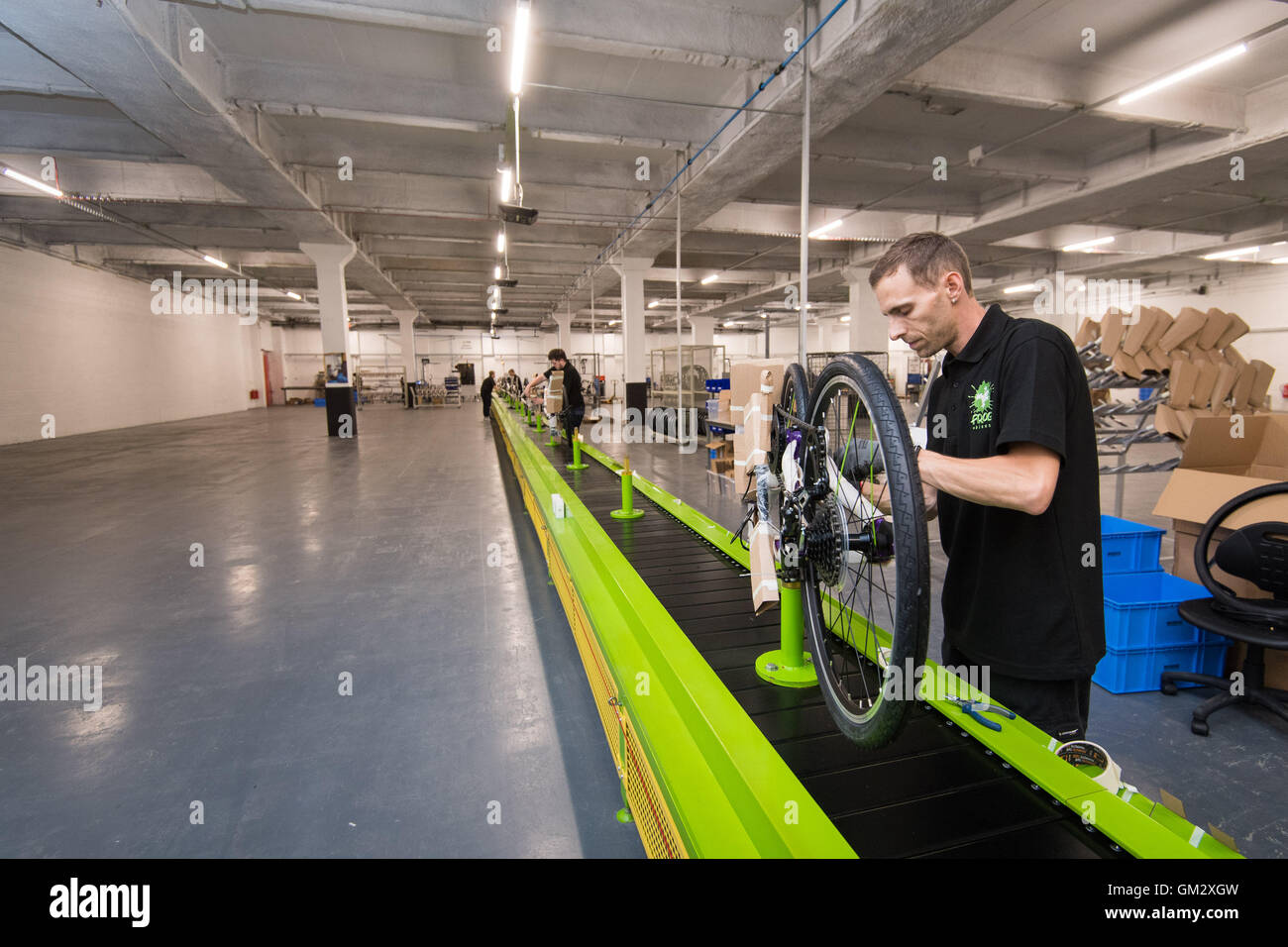 The production line at the Frog Bikes factory - manufacturer of children's bicycles in Pontypool on the day - Stock Image