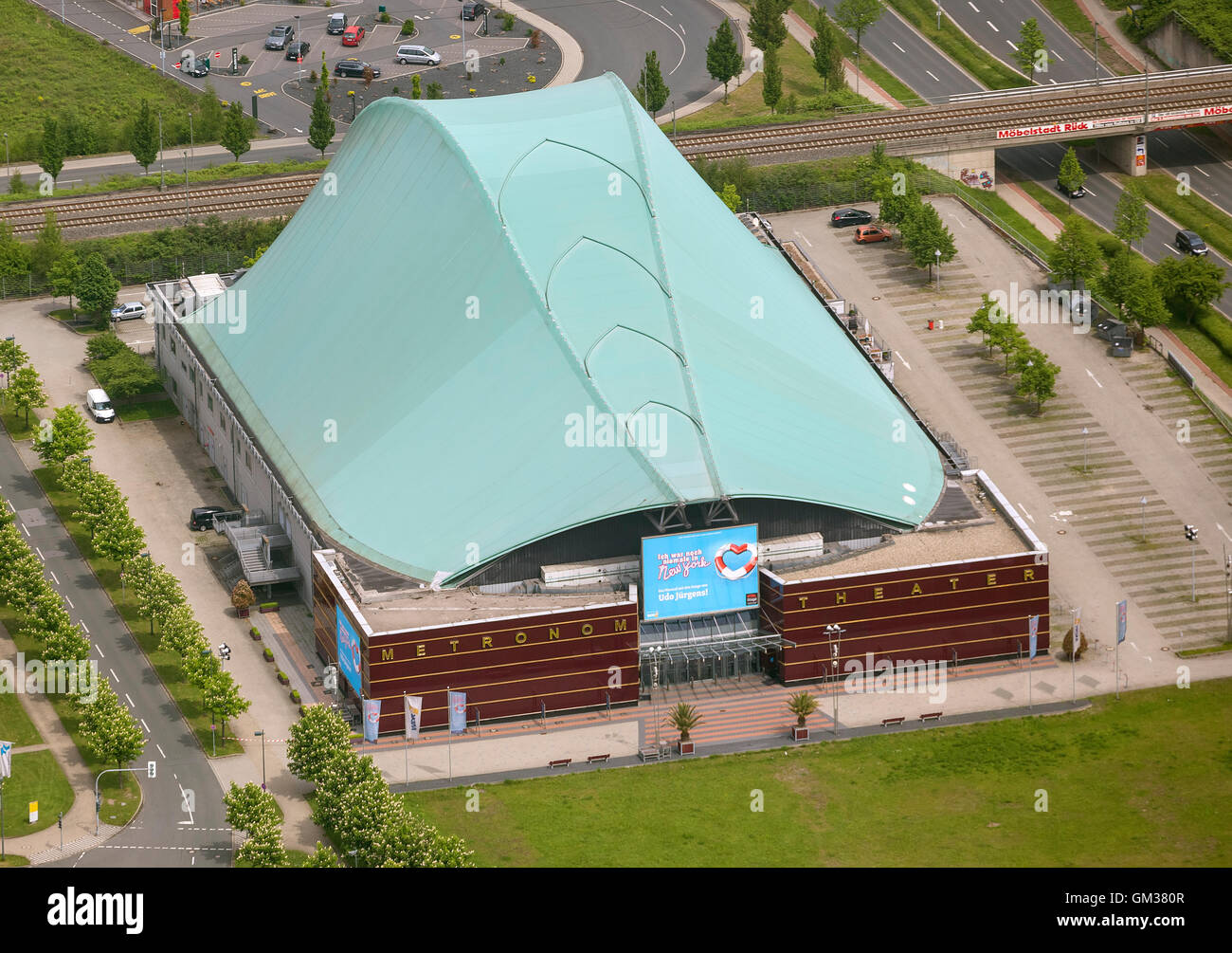Aerial view, metronome Oberhausen I've never been to New York by Udo Jürgens, Neue Mitte Oberhausen, Aerial - Stock Image