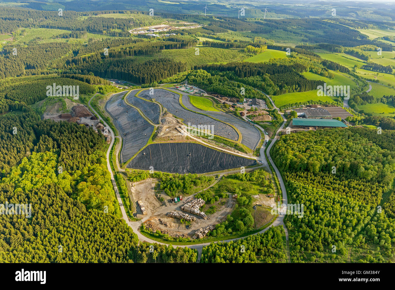 Aerial view, county landfill Olpe, landfill, waste dump, recycling, Aerial view of Olpe, north rhine-westphalia, - Stock Image
