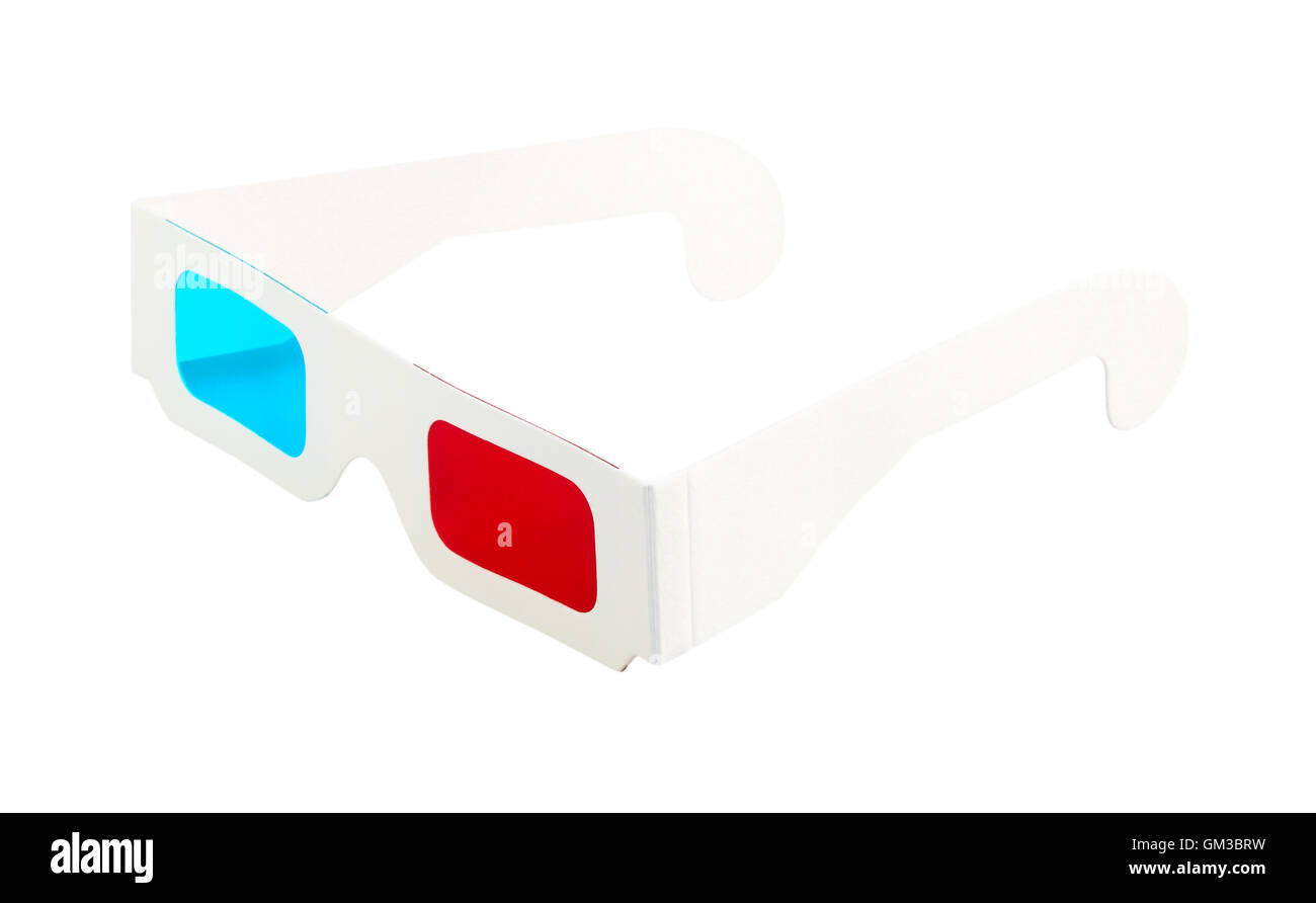 Red-and-blue disposable glasses - Stock Image