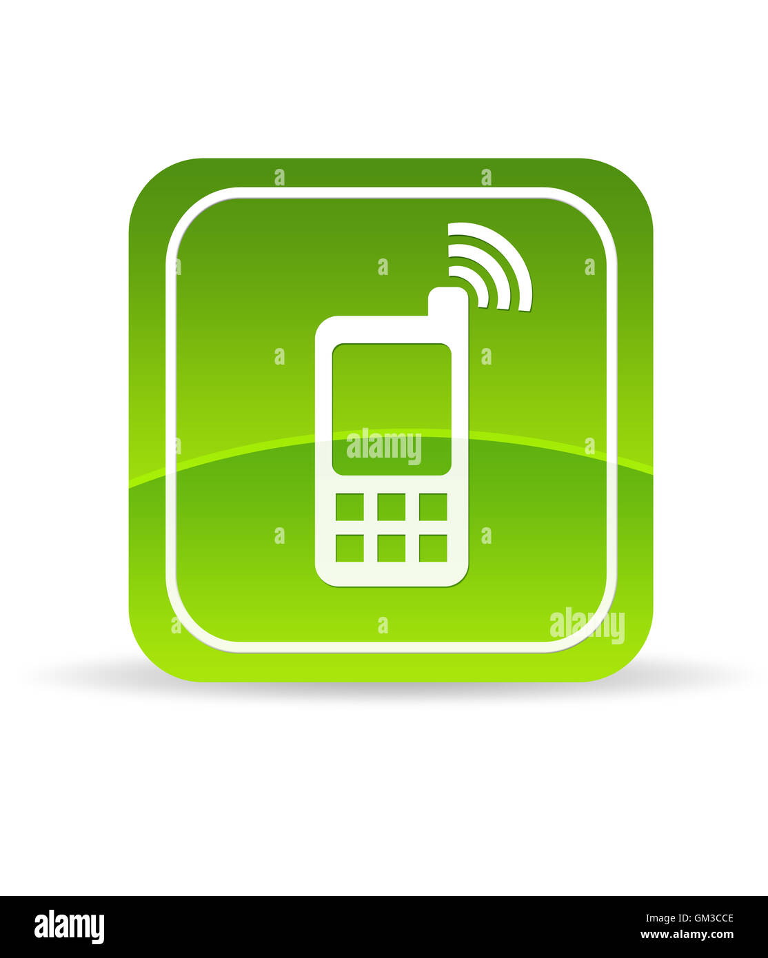 Green Mobile Phone Icon - Stock Image