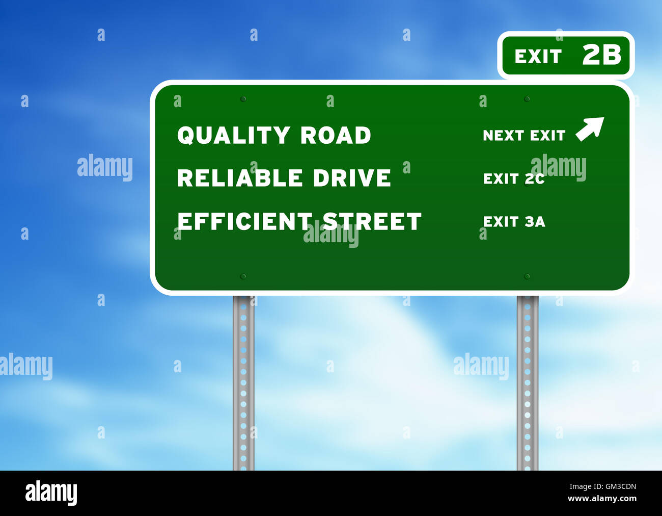 Quality, Reliable, Efficient Highway Sign - Stock Image
