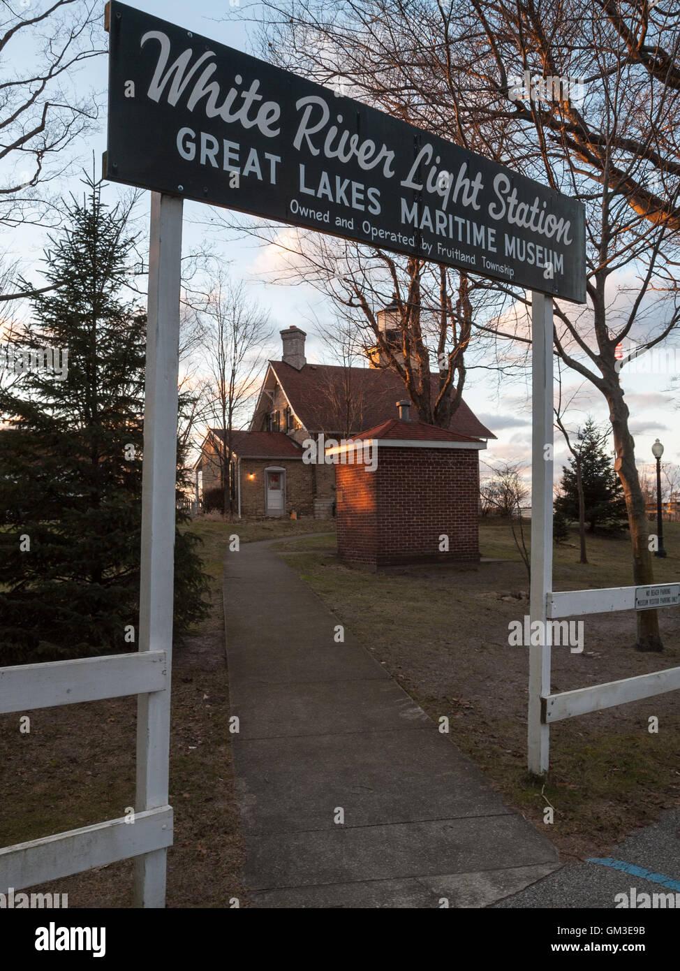 White River Channel and Lighthouse - Whitehall Michigan, Wabiningo , Sylvan Beach, Montague, Lake Michigan, Muskegon - Stock Image