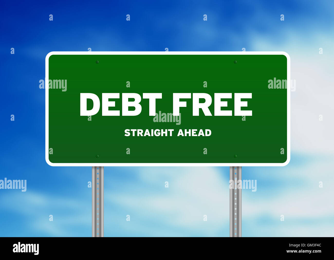 Debt Free Highway Sign - Stock Image