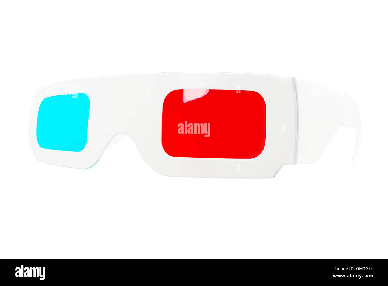 Fish-eye view of red-and-blue disposable glasses - Stock Image