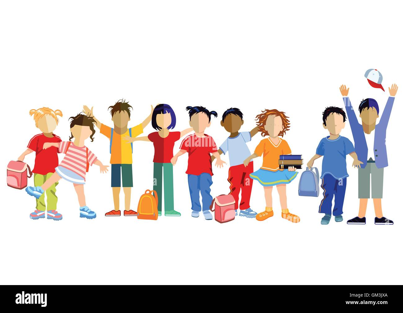 Schoolchildren with schoolbag - Stock Vector