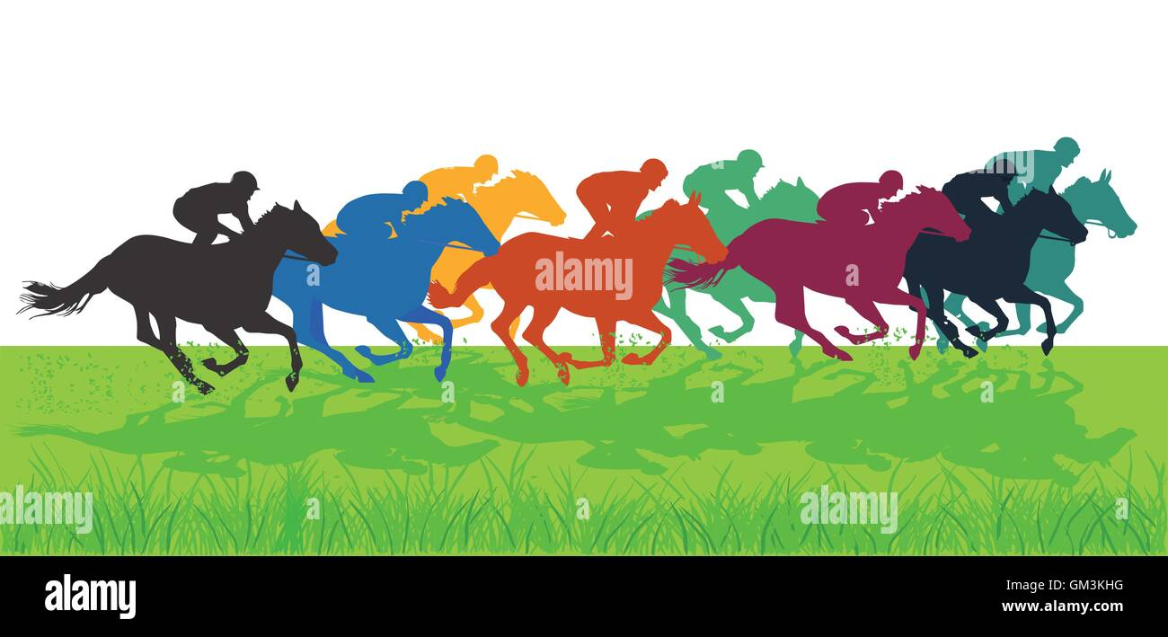 Galloping Horses With Jockeys